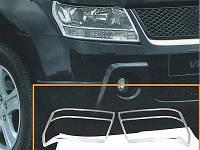 Хром накладки на передние фары на Сузуки Гранд Витара с 2005> (хром пластик) Китай
