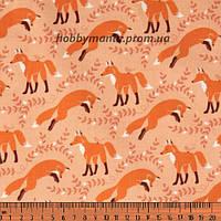 Лисички, оранжевый. Волшебный лес. Ткань хлопковая. FA-11. Детские ткани