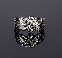 Серебряное кольцо головоломка с черным сапфиром от Wickerring
