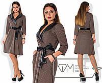 Платье женское в клетку с кожаным декором