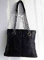 Удобная стеганная вместительная женская сумка. Черная, фото 1