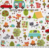 Пикник в лесу, животные, белый, разные цвета. Лесной лагерь. Ткань хлопковая. FA-13. Детские ткани