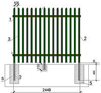 Забор промышленного назначения, не окрашенный  2500/1,2