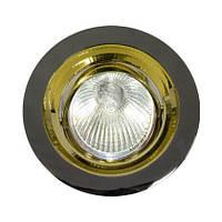 Точечный встраиваемый светильник Feron DL2009 MR16 чёрный металлик золото