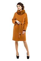 Пальто женское зимнее с мехом M-147-22-Z-M горчица(44 размер,)