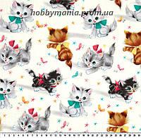 Котята, кремовый, разные цвета. Ткань хлопковая. FA-14. Детские ткани