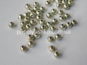 Намистини металеві круглі 4 мм античне Срібло