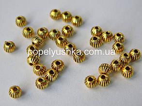 Намистини металеві круглі 4 мм Золото (10 шт)