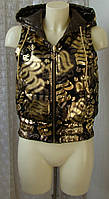 Жилет женский двухсторонний демисезонный утепленный капюшон бренд Roca Wear р.42 5397