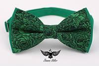 Галстук-бабочка зеленые розы