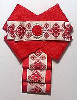 """Брошь-галстук """"Вышиванка"""" красный"""