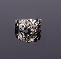 Серебряное кольцо головоломка с Аметистом от Wickerring