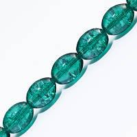 """Бусины """"Битое Стекло"""" Овальные, Цвет: Зеленый A23, Размер: 8х6мм, Отверстие 1.5мм, около 95шт/нить, (УТ0027299)"""