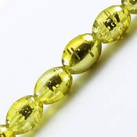 Бусины Стеклянные Волочильные, Овальные, Цвет: Желтый Y23, Размер: 8х6мм, Отверстие 1.5мм, около 100шт/нить, (УТ0027288)