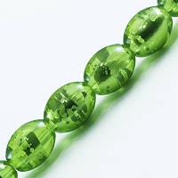 Бусины Стеклянные Волочильные, Овальные, Цвет: Зеленый Y25, Размер: 8х6мм, Отверстие 1.5мм, около 100шт/нить, (УТ0027277)