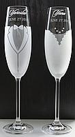 Свадебные бокалы с именной гравировкой   модель 2
