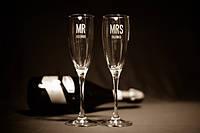 Свадебные бокалы, лазерная гравировка | модель 3