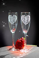 Свадебные бокалы, лазерная гравировка | модель 4