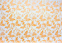 Крафт-бумага подарочная Бабочка Белая с золотом 10 м/рулон