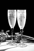 Свадебные бокалы, лазерная гравировка | модель 8