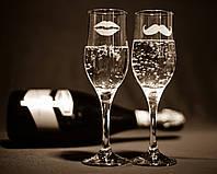 Свадебные бокалы, лазерная гравировка | модель 10