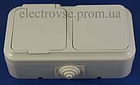 Блок выключатель одинарный + розетка с крышкой