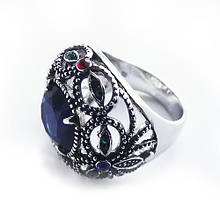 Кольцо с синим камнем Swarovski