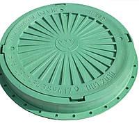 Люк канализационный круглый усиленный пластиковый зеленый