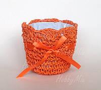 Кашпо вязаное_оранжевое
