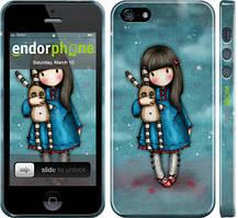 """Чехол на iPhone 5s Девочка с зайчиком """"915c-21"""""""
