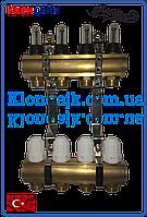 Коллекторная балка для теплого пола AW (пара) на 4 контура.