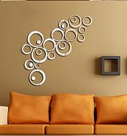 Зеркальные наклейки круги диаметр от 13,5см до 2,5см пластиковые, 24шт набор