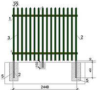 Забор промышленного назначения, окрашенный  2000/1,2