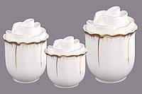 """Набор банок для сыпучих продуктов 11х11/11х12/11х13 см. """"Лепестки розы"""" фарфоровых, белых с золотистым"""