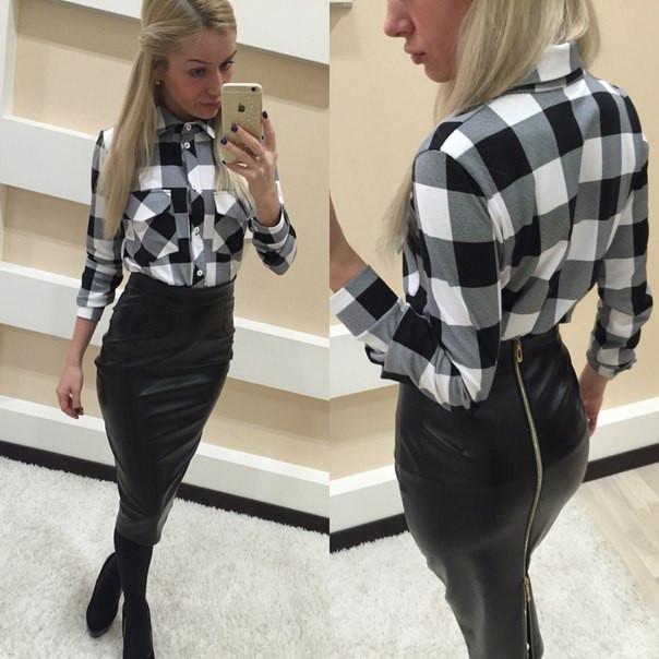 85e4f115c83 Женская рубашка в клетку черно-белая - Интернет-магазин