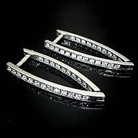 Серебряные серьги со вставками из фианита, 46 камней