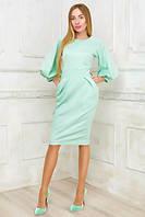 """Офисное платье-футляр по колено """"Ellen"""" с рукавами фонариками и карманами (2 цвета)"""