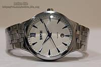 Мужские кварцевые классические часы Skmei 9071  (white - silver) + ВІДЕО