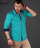Рубашка мужская бирюзовая силуэта Slim Fit р. XL