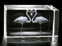 Лазерная голограмма в хрустале / Фламинго Сердцем / 08 см 8x5x5 см