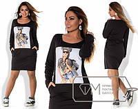 Платье женское черное с девочкой МИС/-2032