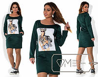 Платье женское зеленое с девочкой МИС/-2032