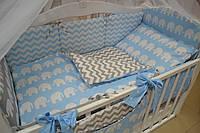 """Постель в кроватку серо-голубого цвета """"Слоники"""" с зигзагами, звездочками., фото 1"""