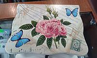 Шкатулка музыкальная для украшений с бабочками и розами, фото 1