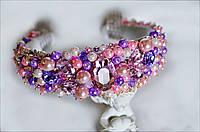 Ободок-диадема в лавандово-розовом тоне