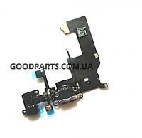 Разъем зарядки и гнездо наушников для iPhone 5 черный (Оригинал)