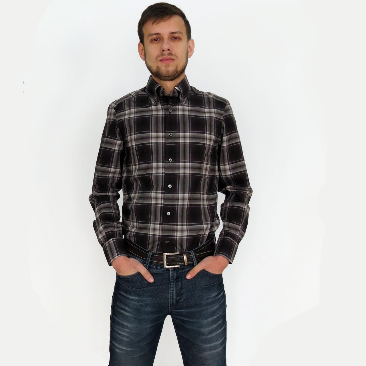 970ce28ca74 Рубашка мужская коричневая в клетку. Приталенная рубашка на каждый ...
