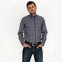 Рубашка мужская дымчато синего цвета в мелкую клетку. Длинный рукав, приталенный силуэт.Разм. S, XXL.Belmonte.