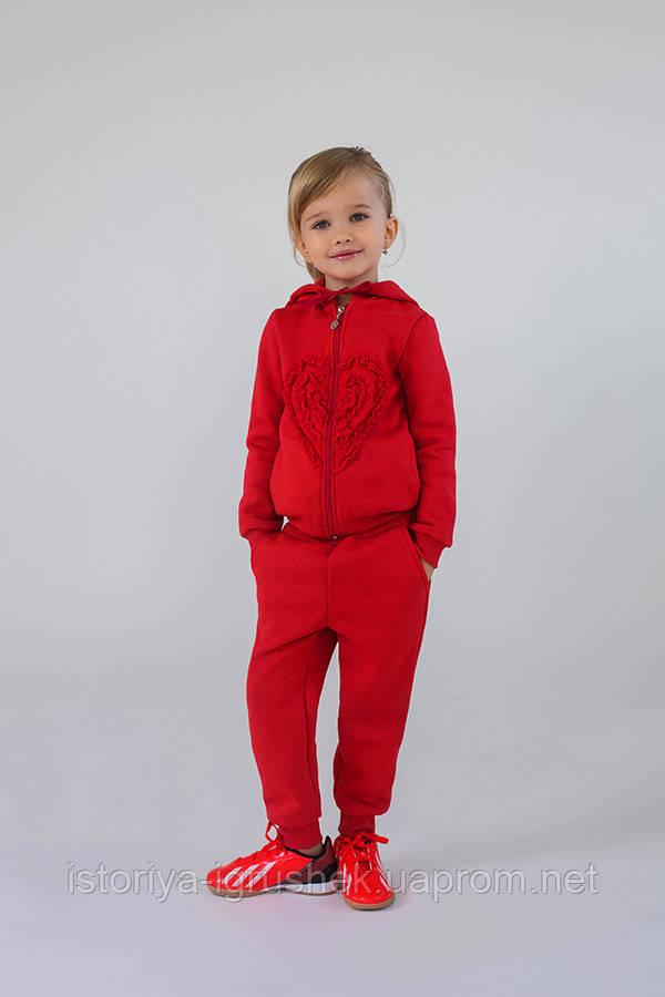 Утепленный спортивный костюм для девочки (коралл)