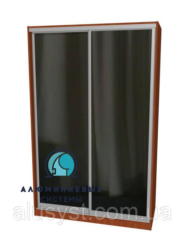 Алюминиевая система шкафа купе. Ручка АА114. Габариты 1400(Ш) х 2200(В) Зеркало+Зеркало